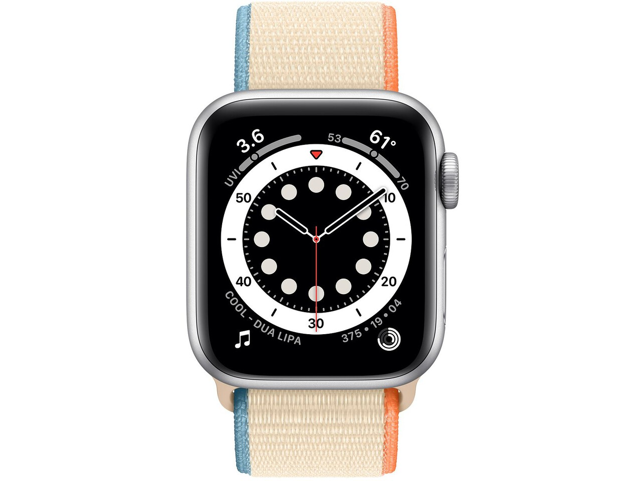 apple watch series 6 40mm silver aluminum cream sport loop