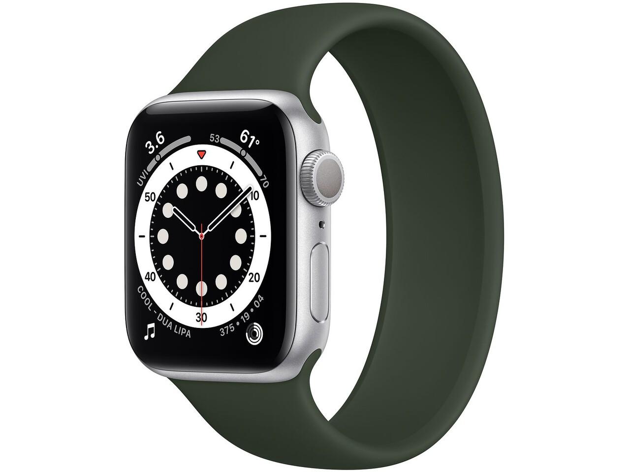 apple watch series 6 40mm silver aluminum cyprus green solo loop