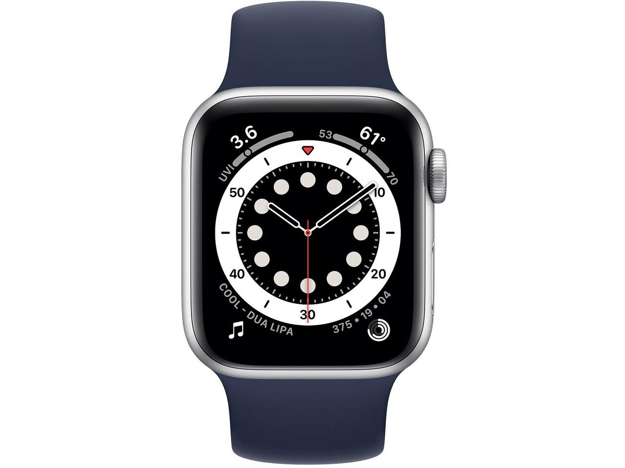 apple watch series 6 40mm silver aluminum deep navy solo loop