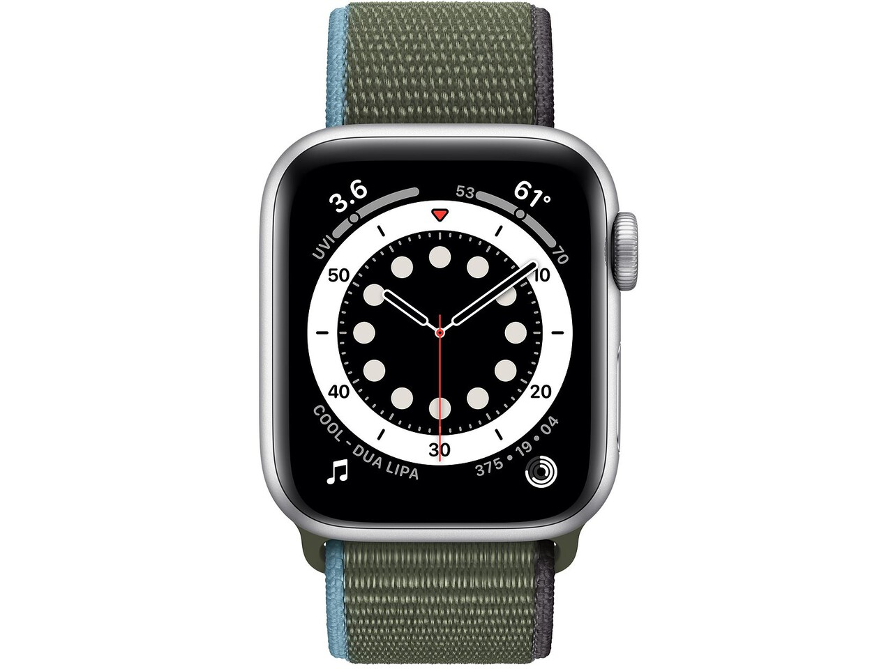 apple watch series 6 40mm silver aluminum inverness green sport loop