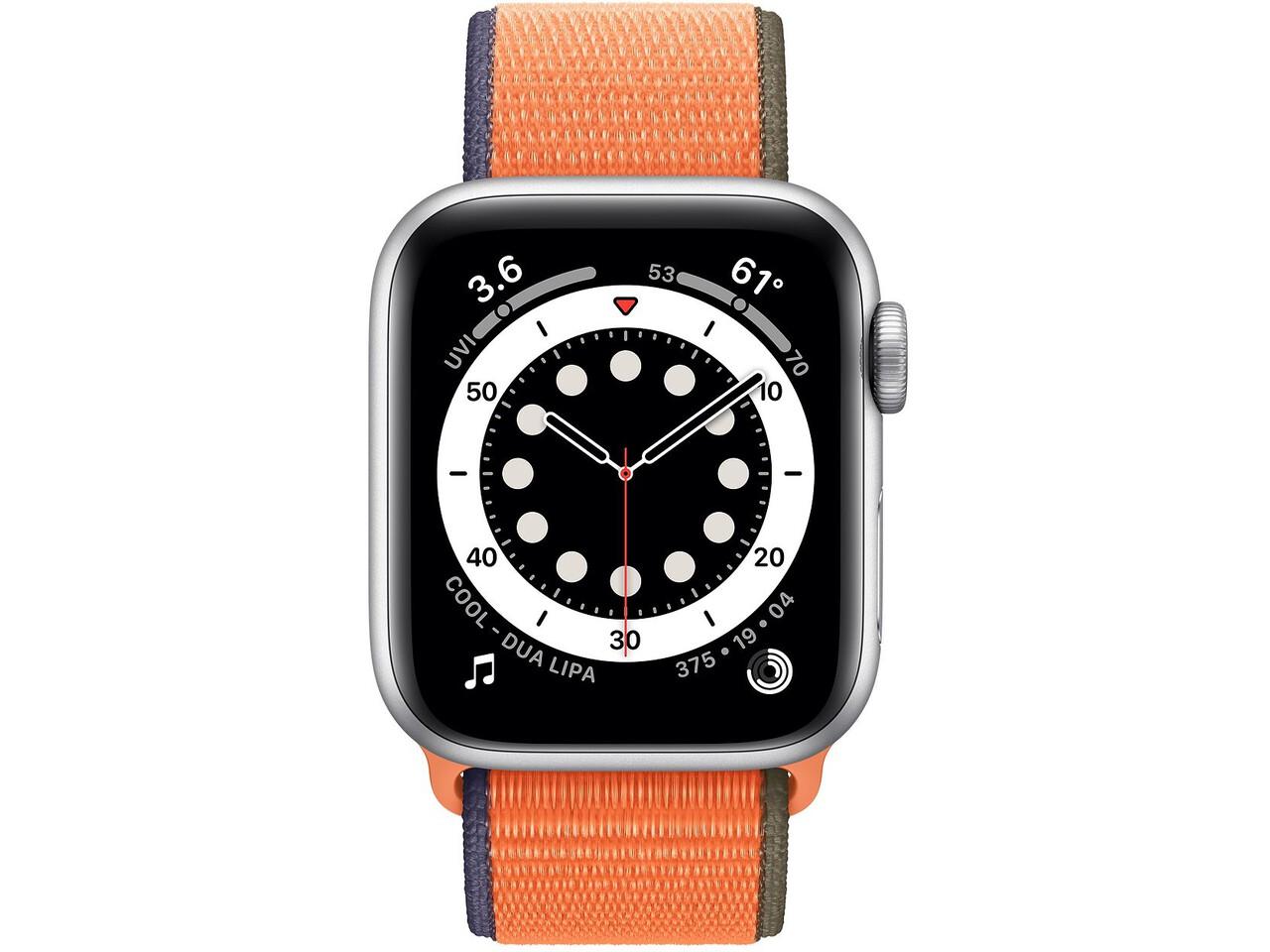 apple watch series 6 40mm silver aluminum kumquat sport loop