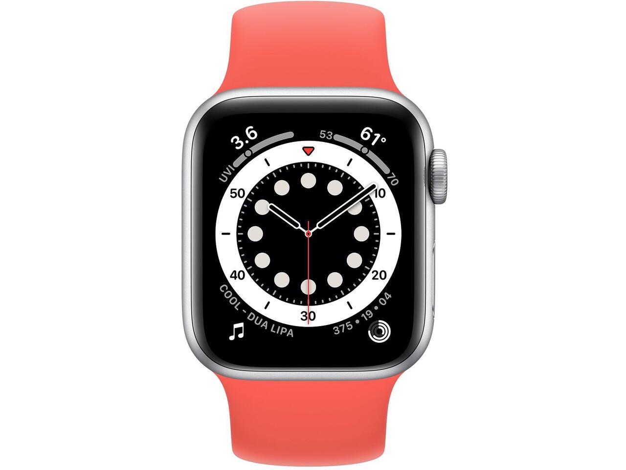 apple watch series 6 40mm silver aluminum pink citrus solo loop