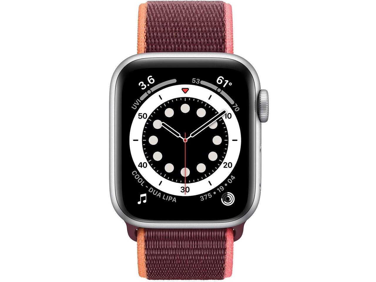 apple watch series 6 40mm silver aluminum plum sport loop