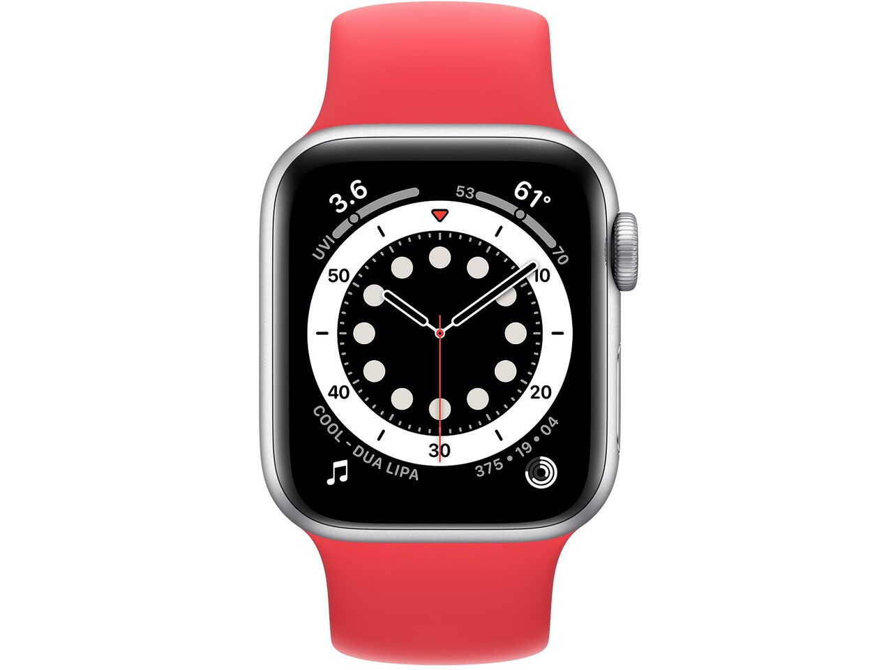 apple watch series 6 40mm silver aluminum red solo loop