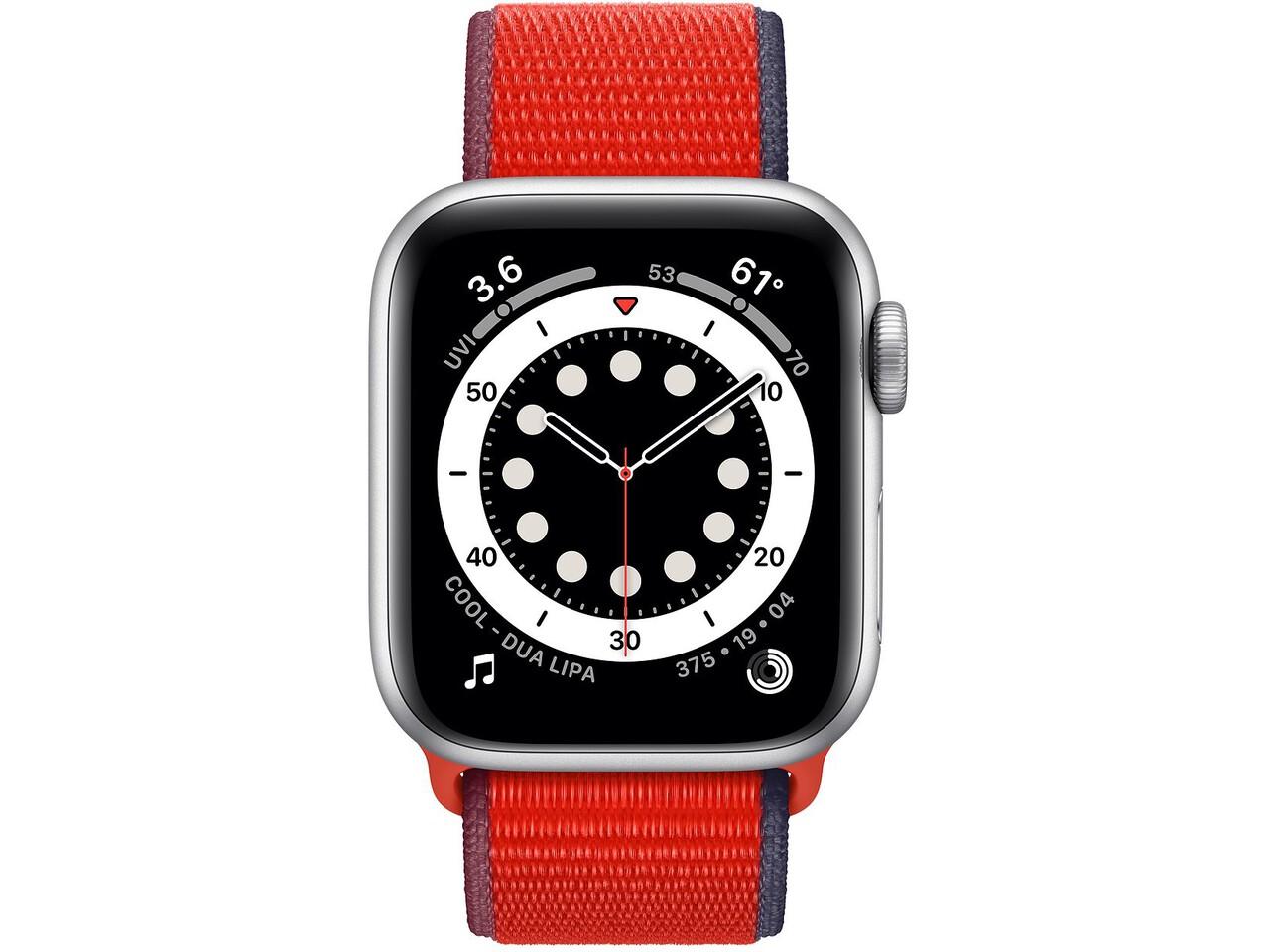 apple watch series 6 40mm silver aluminum red sport loop