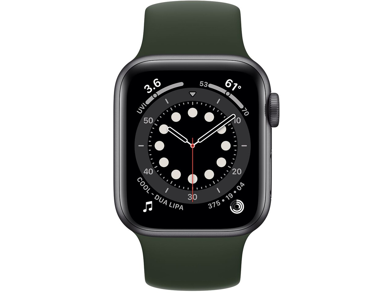 apple watch series 6 40mm space gray aluminum cyprus green solo loop