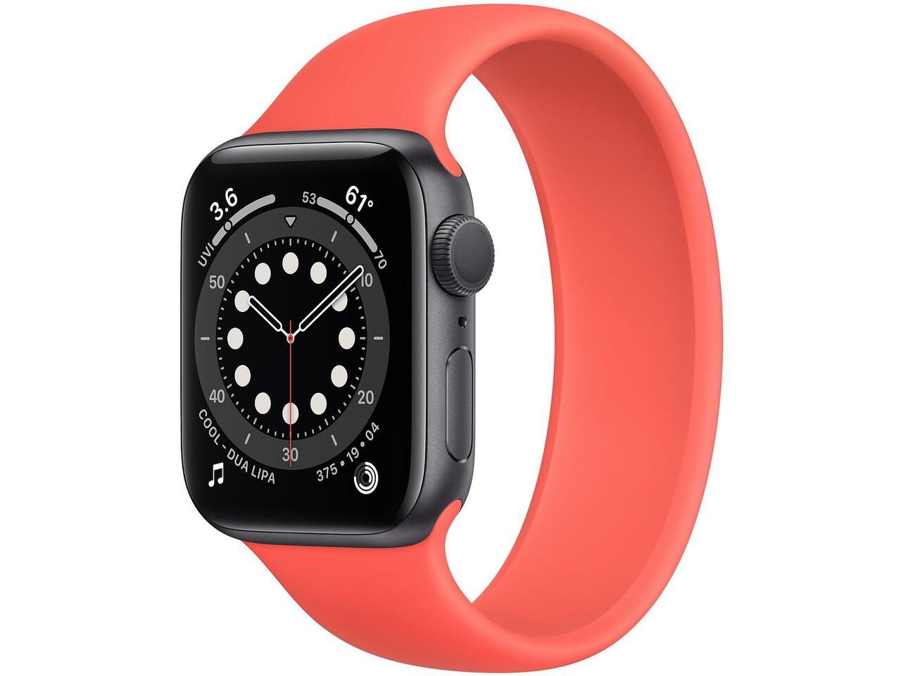 apple watch series 6 40mm space gray aluminum pink citrus solo loop
