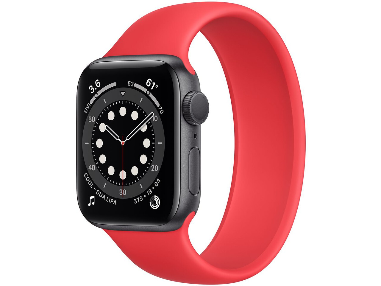 apple watch series 6 40mm space gray aluminum red solo loop