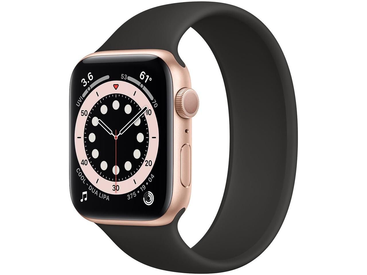 apple watch series 6 44mm gold aluminum black solo loop