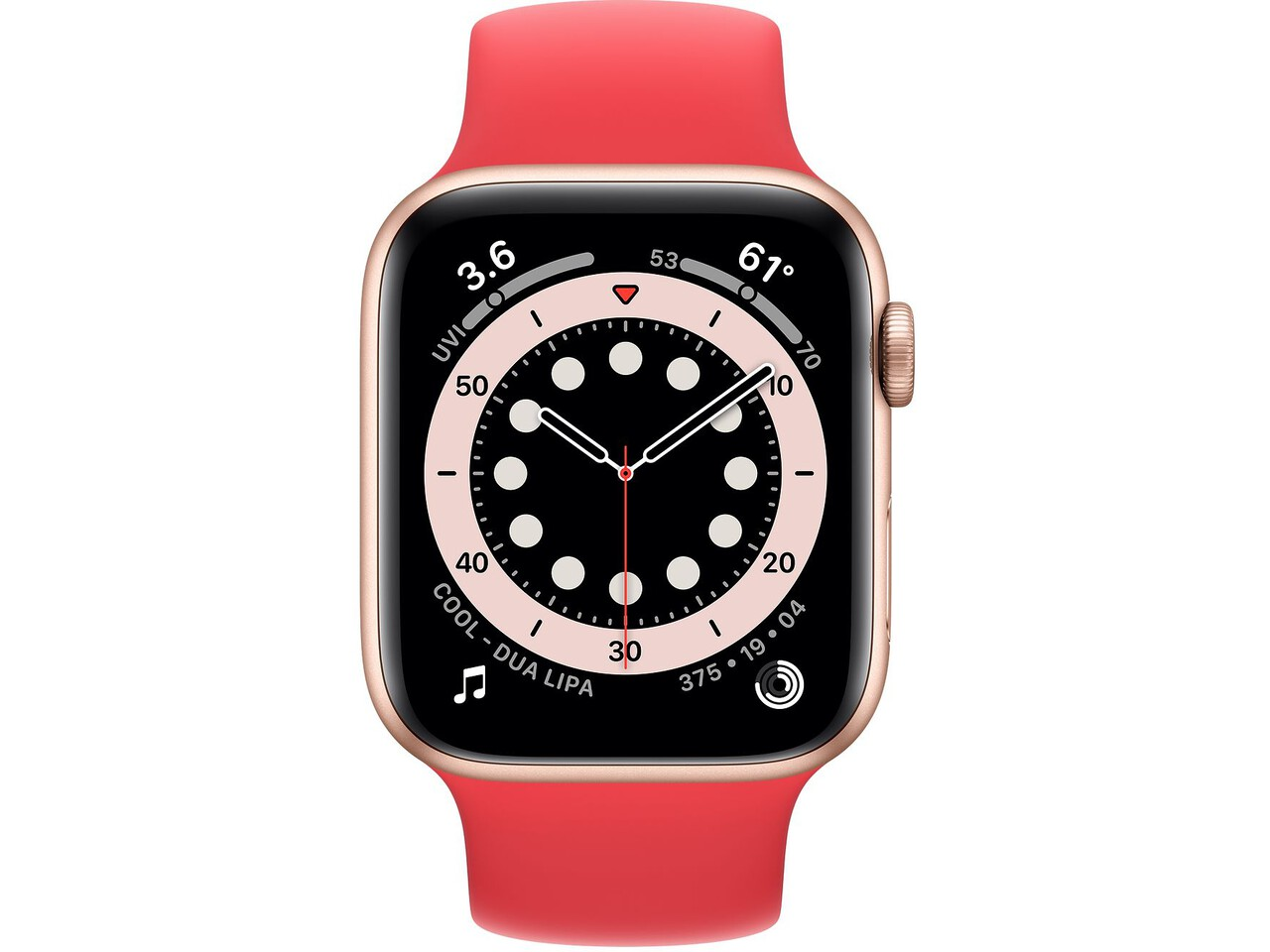 apple watch series 6 44mm gold aluminum red solo loop