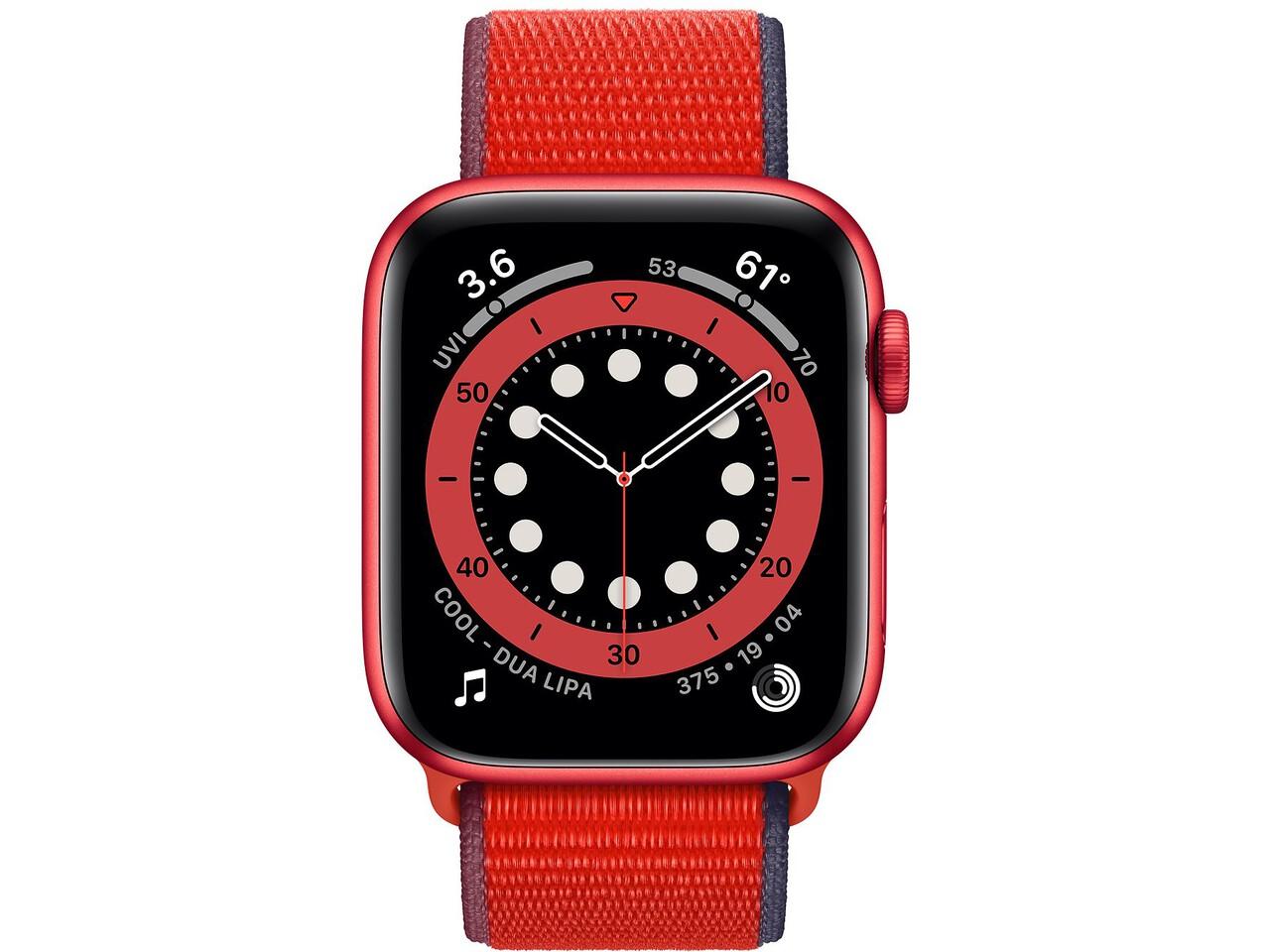 apple watch series 6 44mm red aluminum red sport loop
