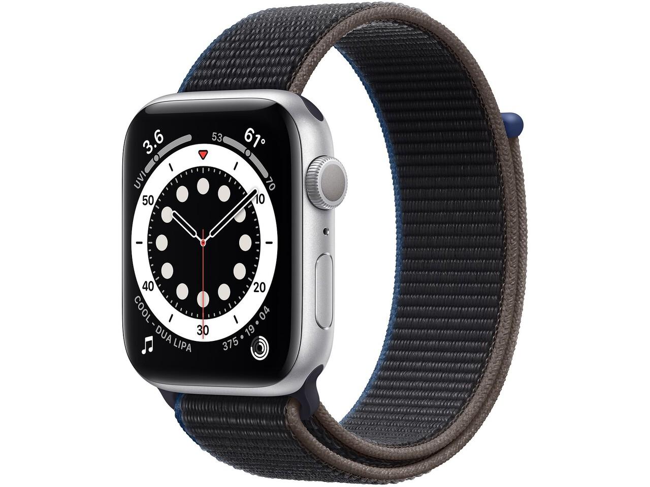 apple watch series 6 44mm silver aluminum charcoal sport loop