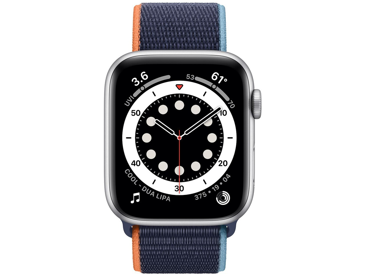 apple watch series 6 44mm silver aluminum deep navy sport loop