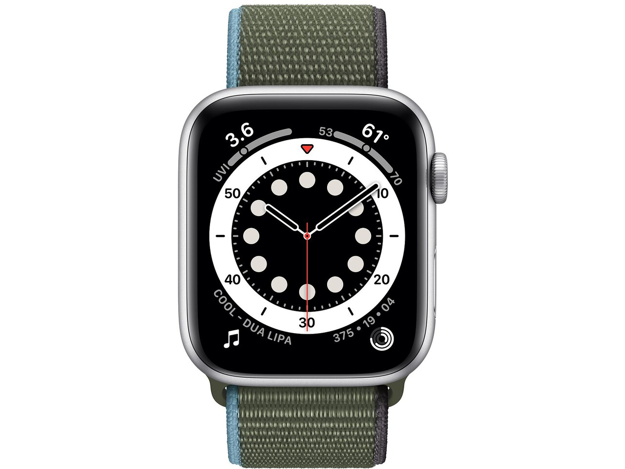 apple watch series 6 44mm silver aluminum inverness green sport loop