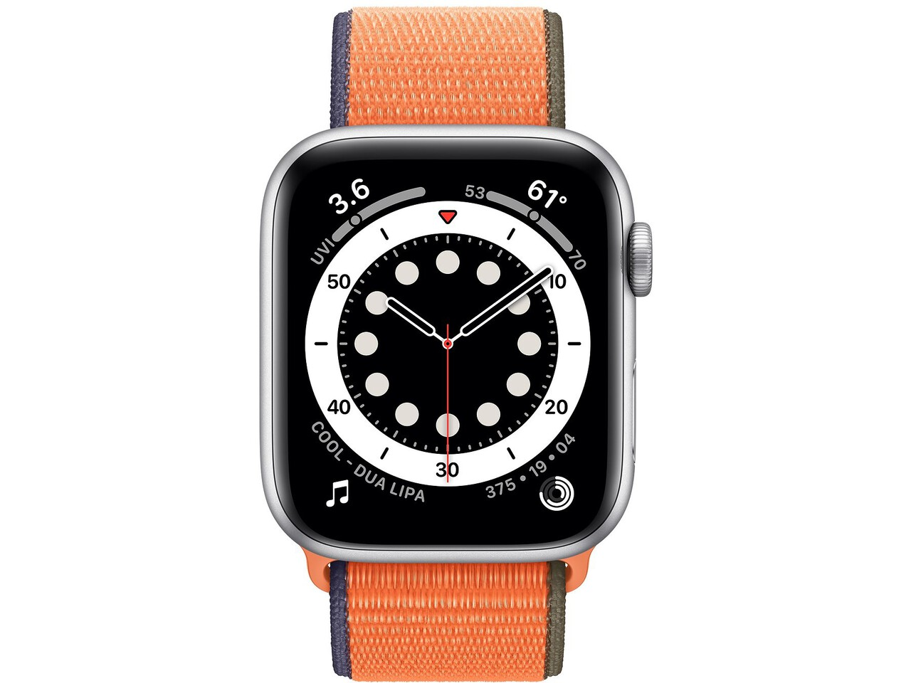 apple watch series 6 44mm silver aluminum kumquat sport loop