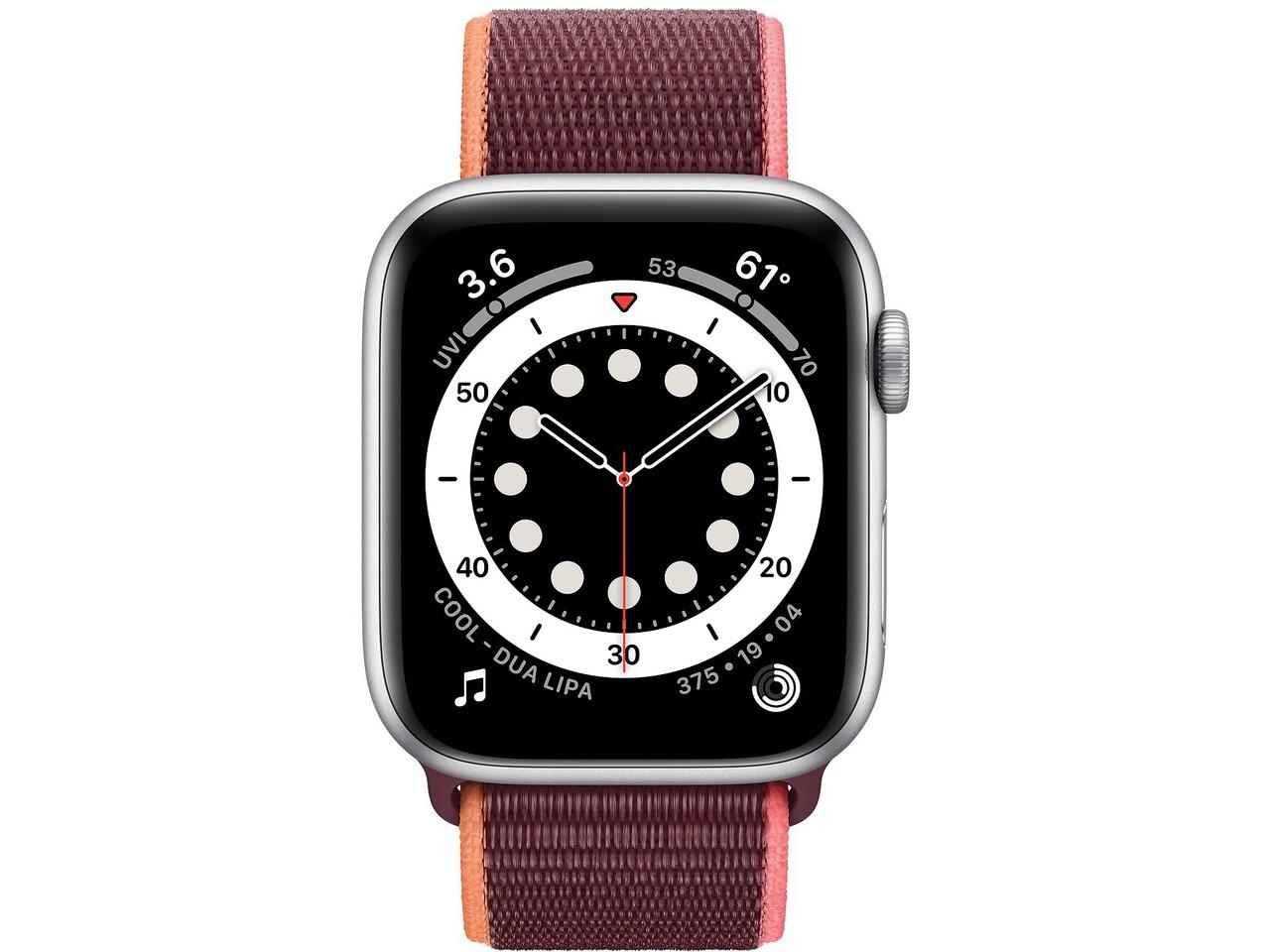 apple watch series 6 44mm silver aluminum plum sport loop
