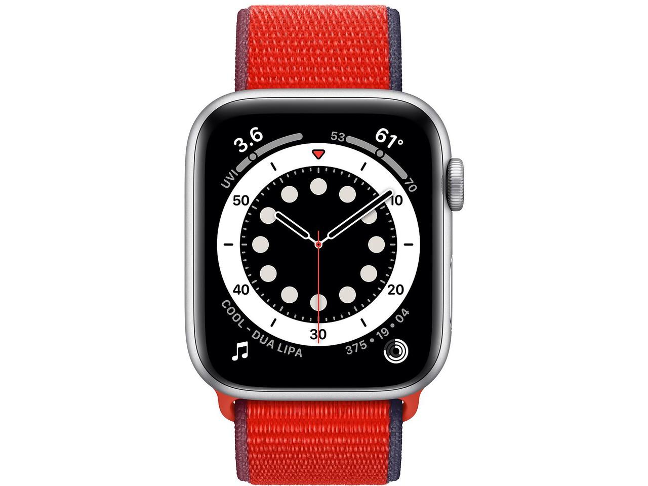 apple watch series 6 44mm silver aluminum red sport loop