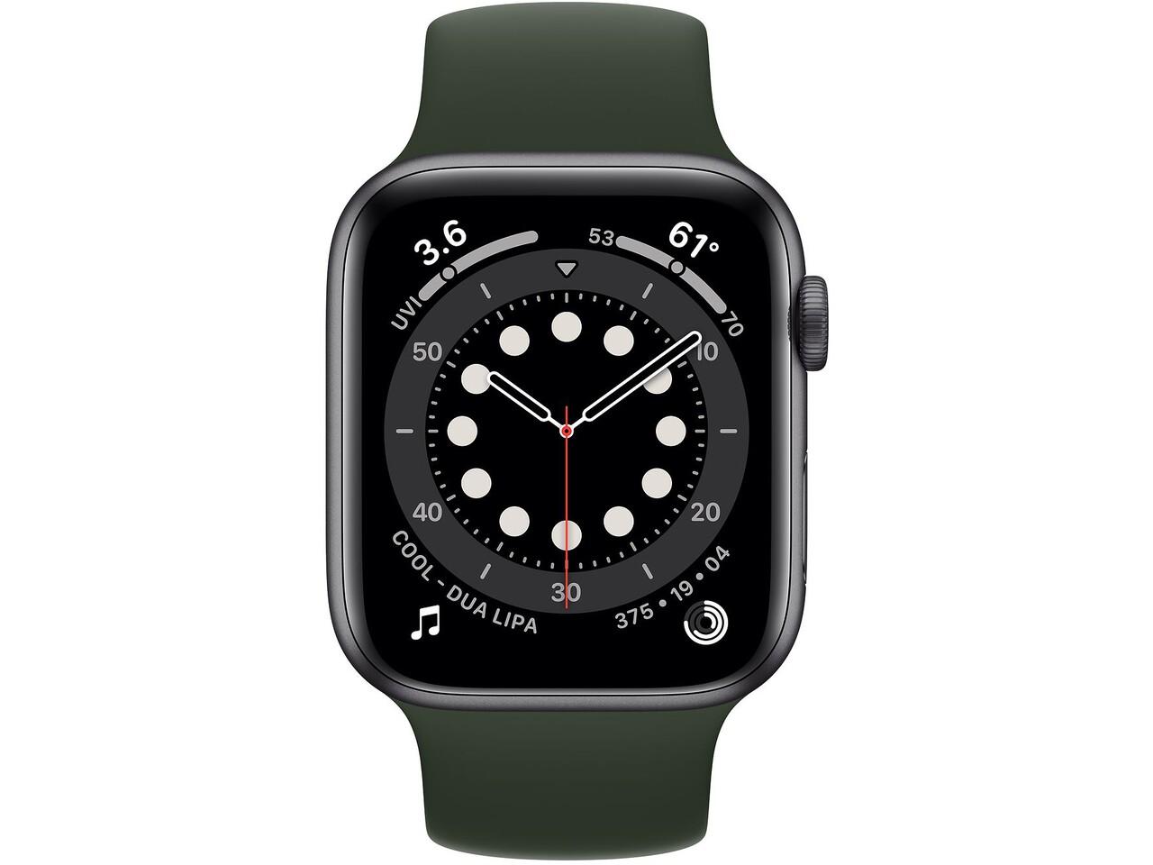 apple watch series 6 44mm space gray aluminum cyprus green solo loop