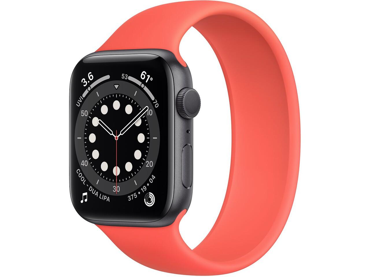 apple watch series 6 44mm space gray aluminum pink citrus solo loop
