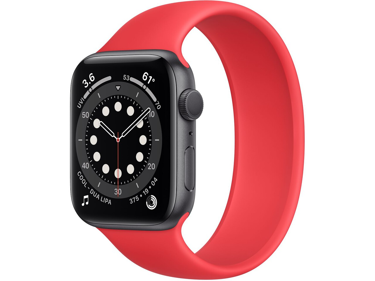 apple watch series 6 44mm space gray aluminum red solo loop