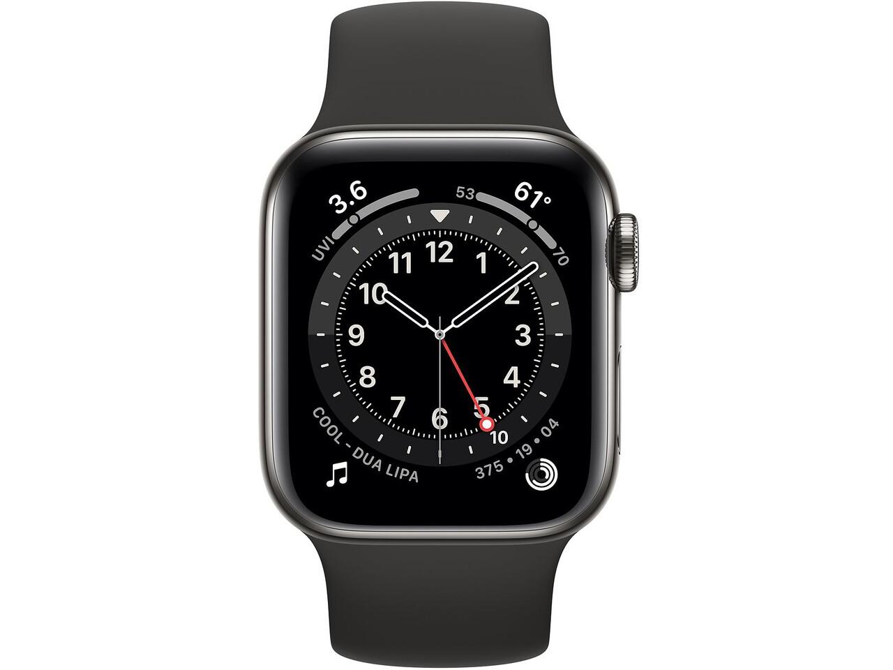 apple watch series 6 cellular 40mm graphite milanese loop black solo loop