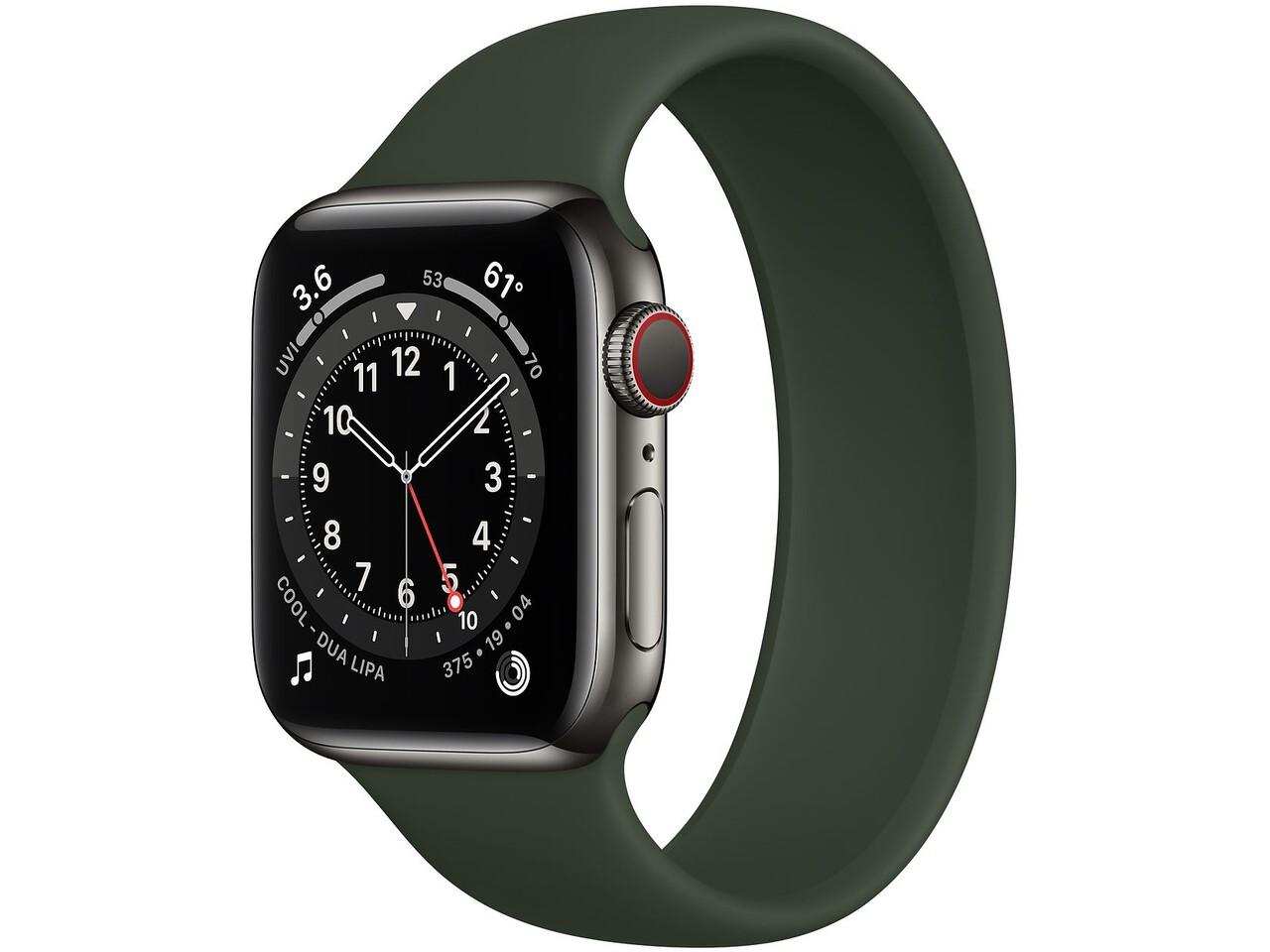apple watch series 6 cellular 40mm graphite milanese loop cyprus green solo loop
