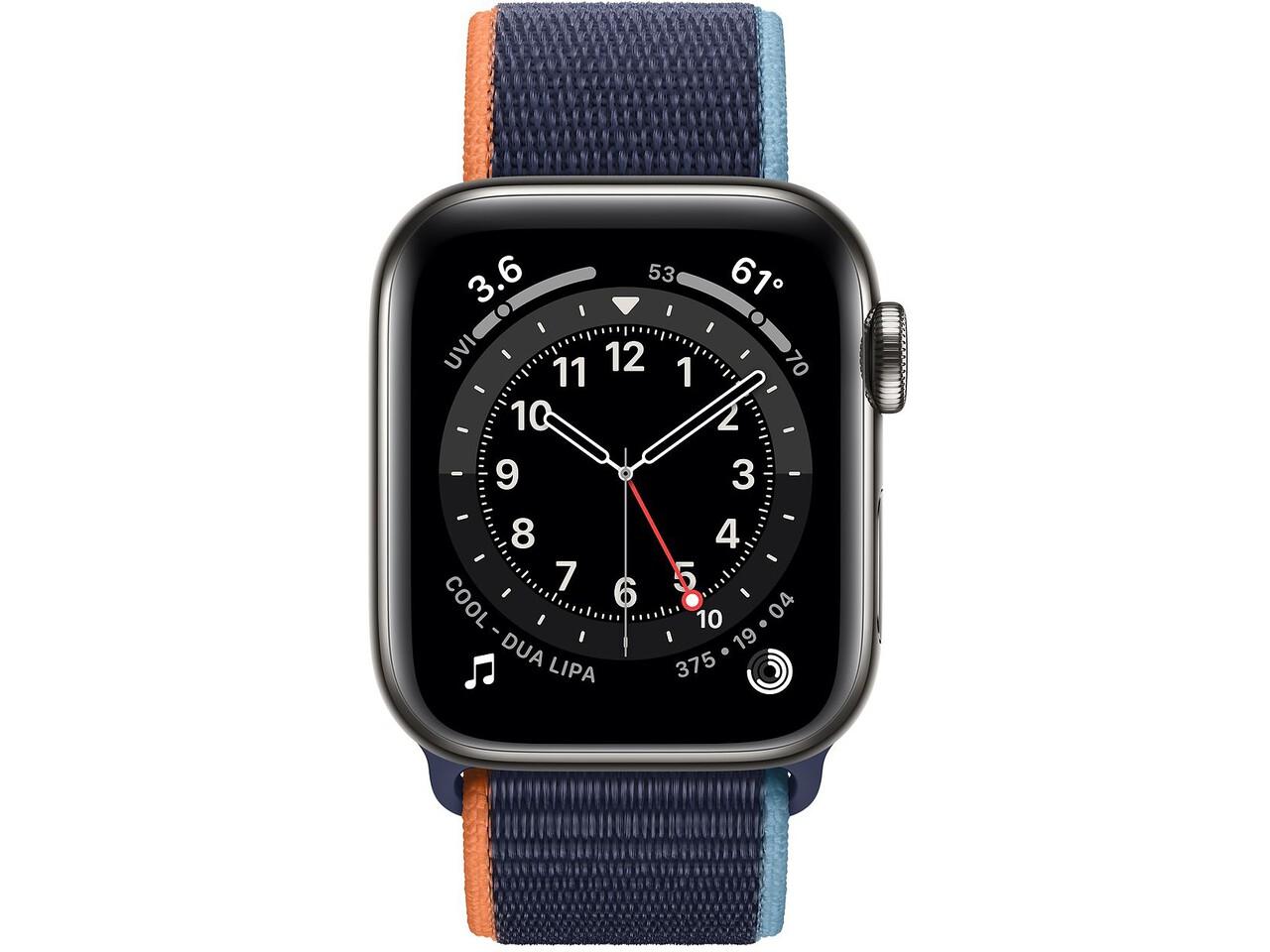 apple watch series 6 cellular 40mm graphite milanese loop deep navy sport loop