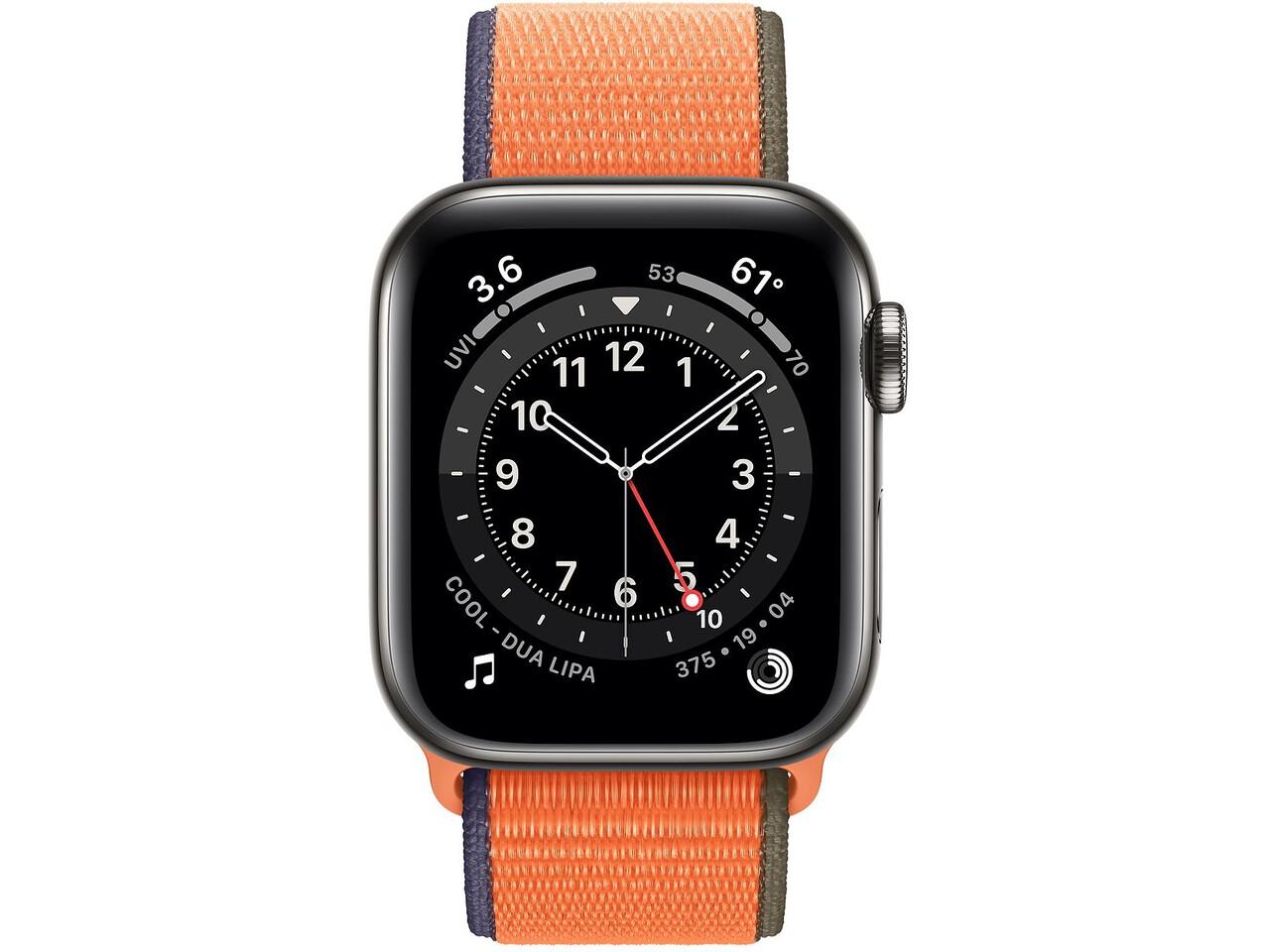 apple watch series 6 cellular 40mm graphite milanese loop kumquat sport loop