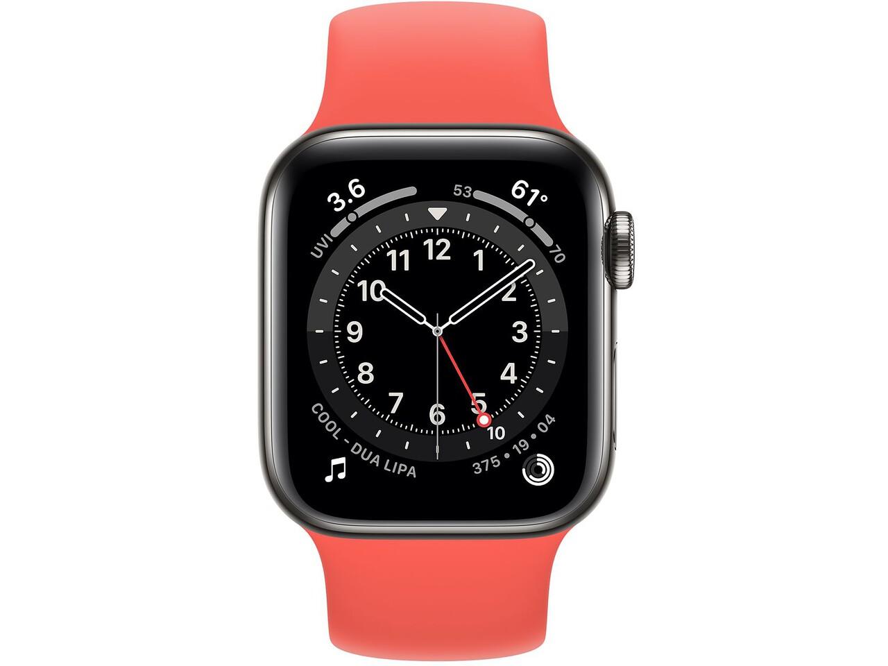 apple watch series 6 cellular 40mm graphite milanese loop pink citrus solo loop