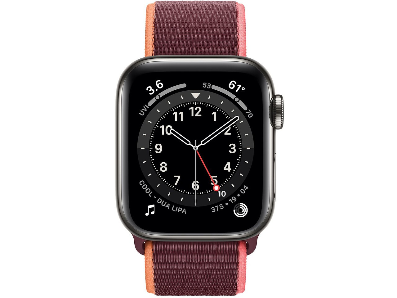 apple watch series 6 cellular 40mm graphite milanese loop plum sport loop