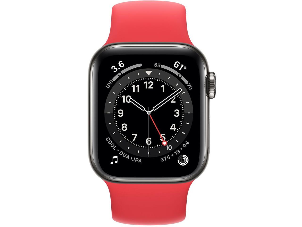 apple watch series 6 cellular 40mm graphite milanese loop red solo loop