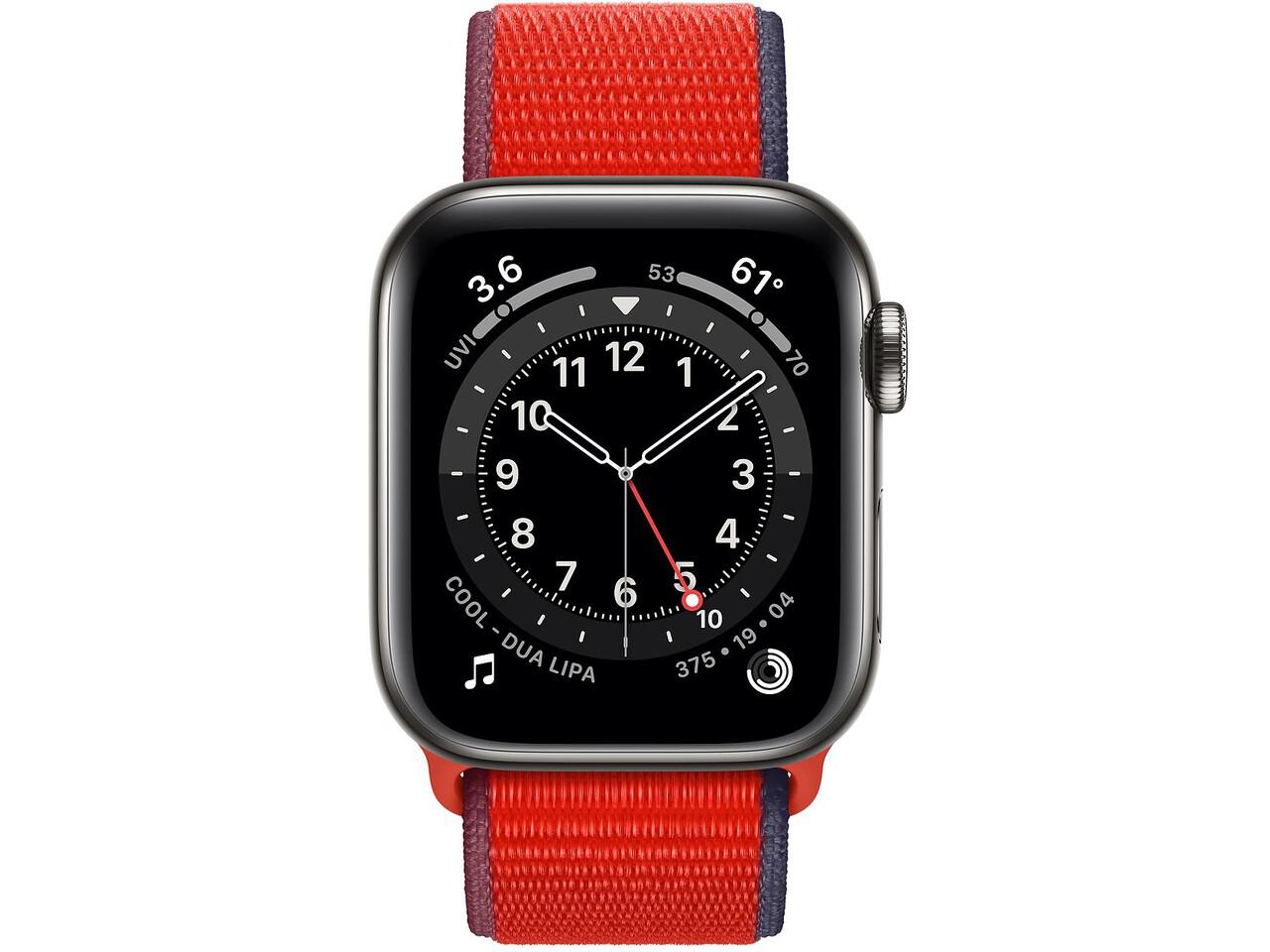 apple watch series 6 cellular 40mm graphite milanese loop red sport loop