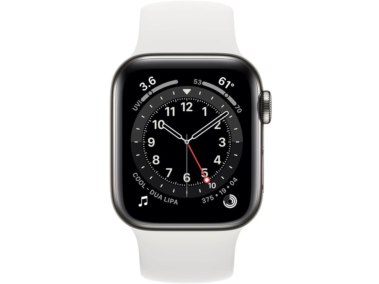 apple watch series 6 cellular 40mm graphite milanese loop white solo loop