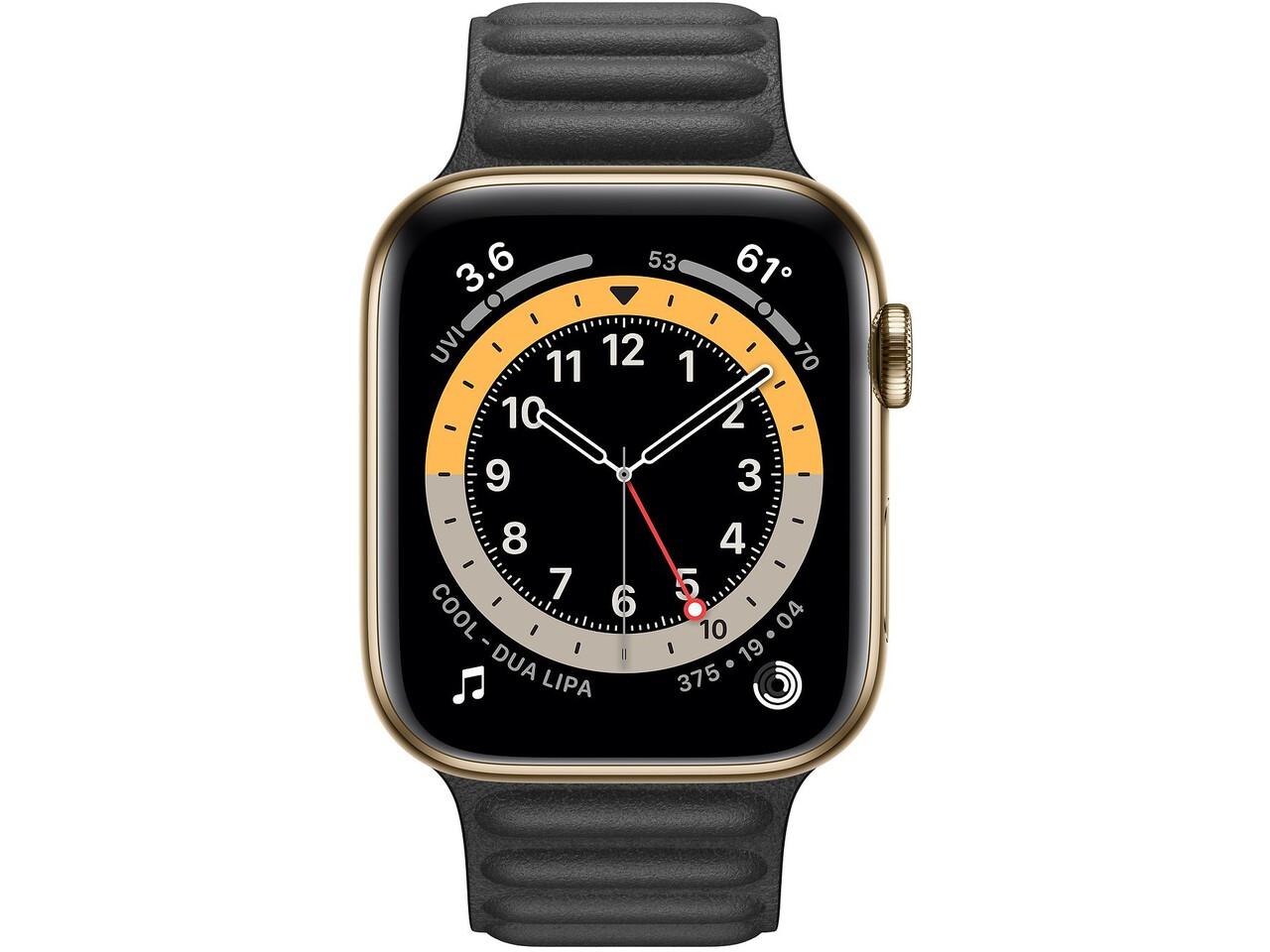 apple watch series 6 cellular 44mm gold milanese loop black leather loop