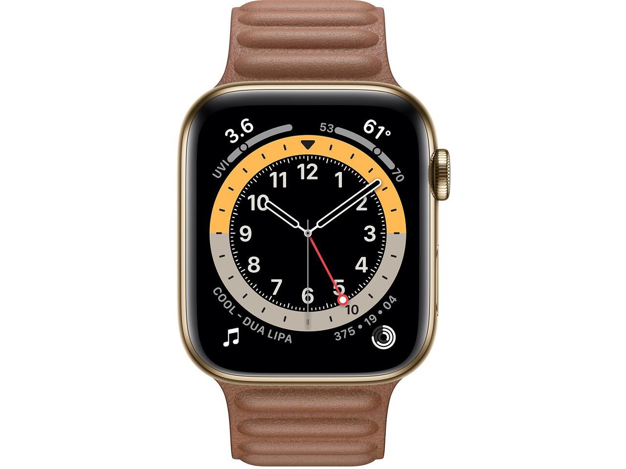 apple watch series 6 cellular 44mm gold milanese loop saddle brown leather loop