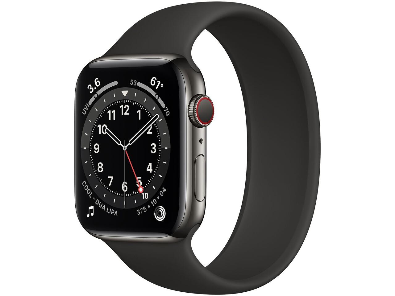 apple watch series 6 cellular 44mm graphite milanese loop black solo loop
