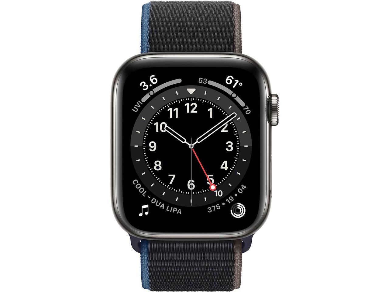 apple watch series 6 cellular 44mm graphite milanese loop charcoal sport loop