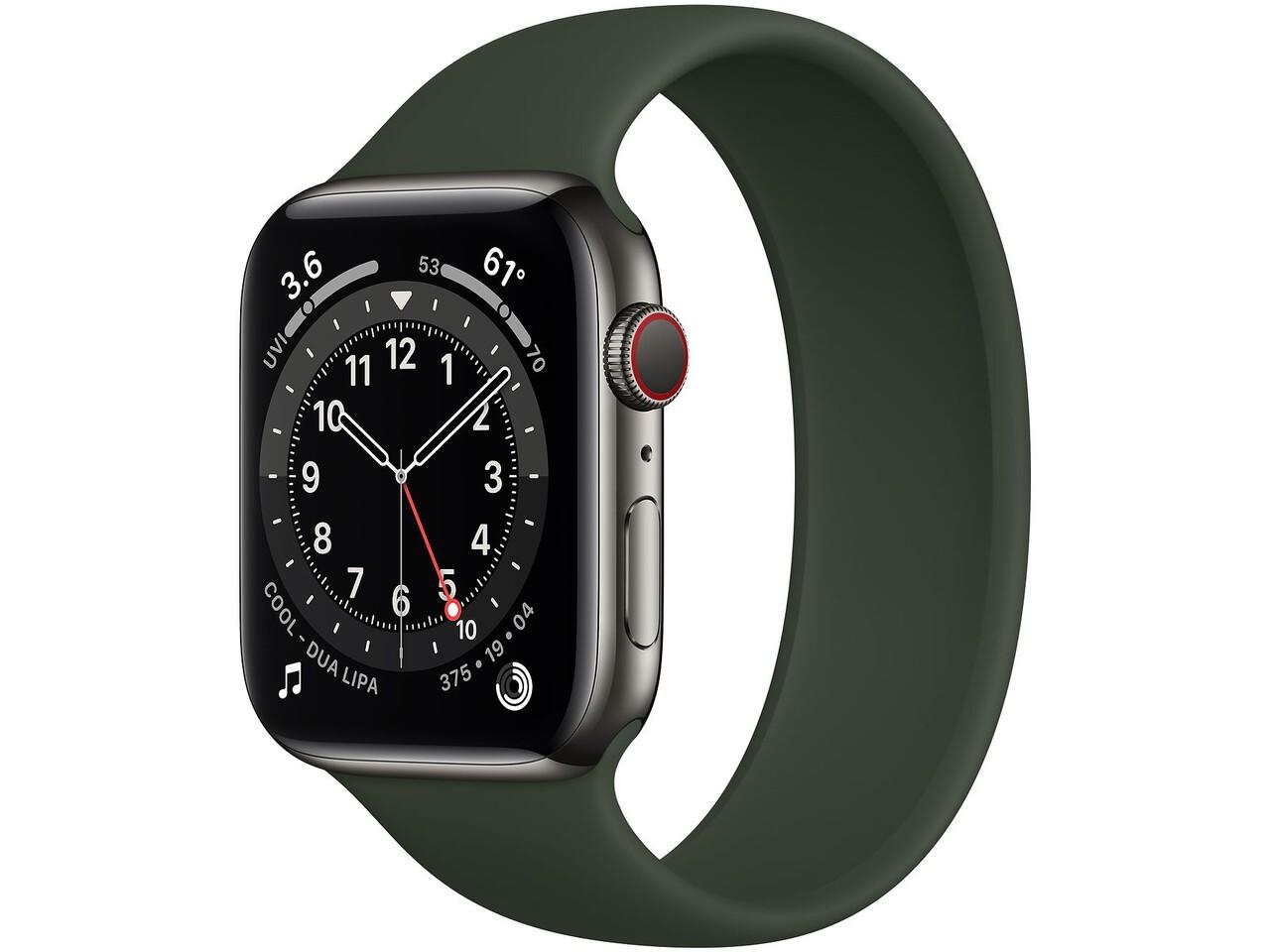 apple watch series 6 cellular 44mm graphite milanese loop cyprus green solo loop