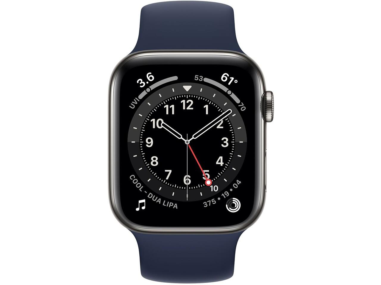 apple watch series 6 cellular 44mm graphite milanese loop deep navy solo loop