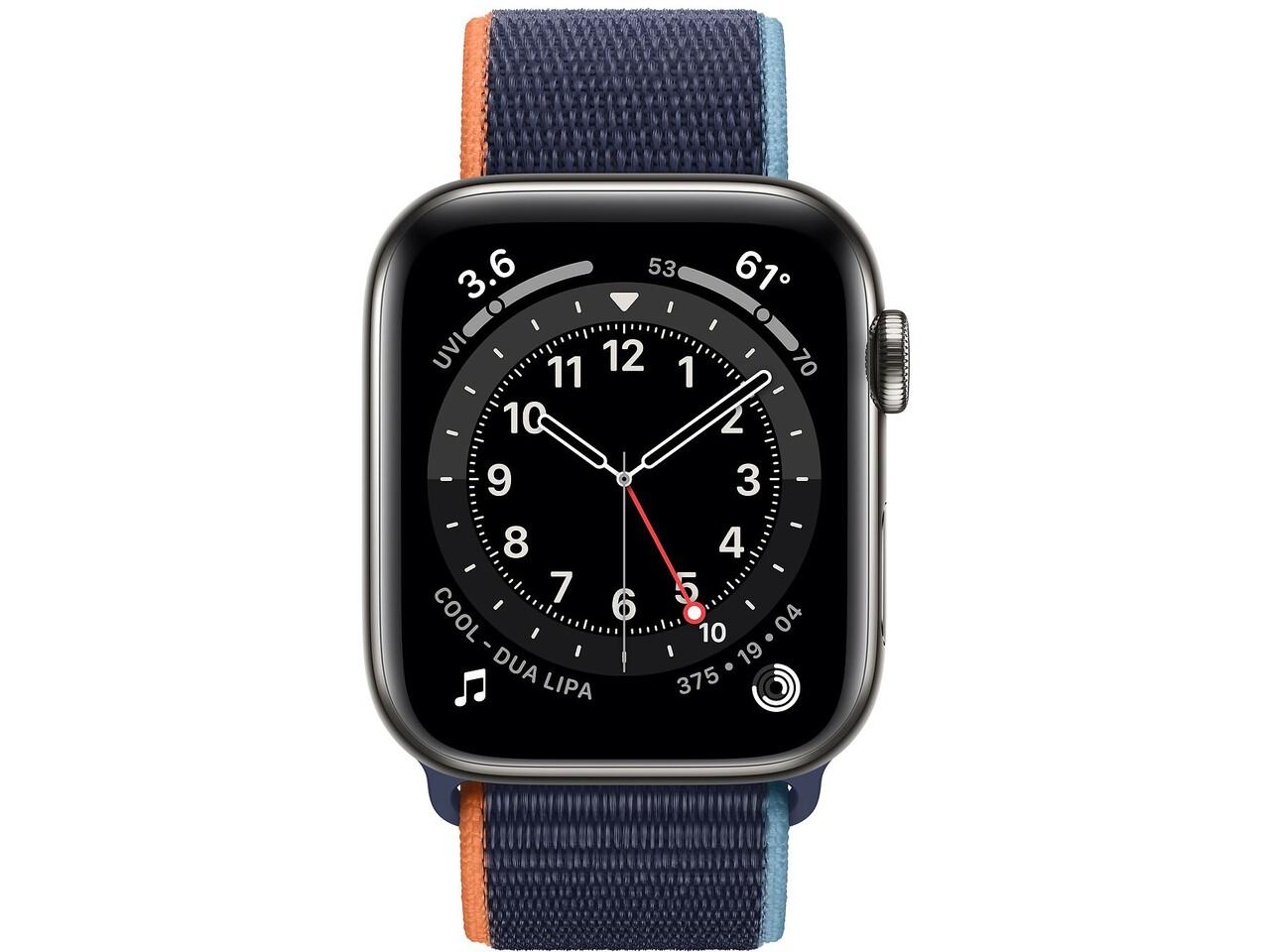 apple watch series 6 cellular 44mm graphite milanese loop deep navy sport loop