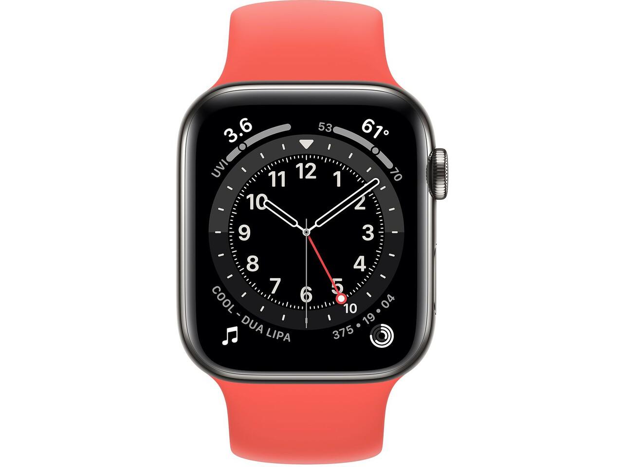 apple watch series 6 cellular 44mm graphite milanese loop pink citrus solo loop