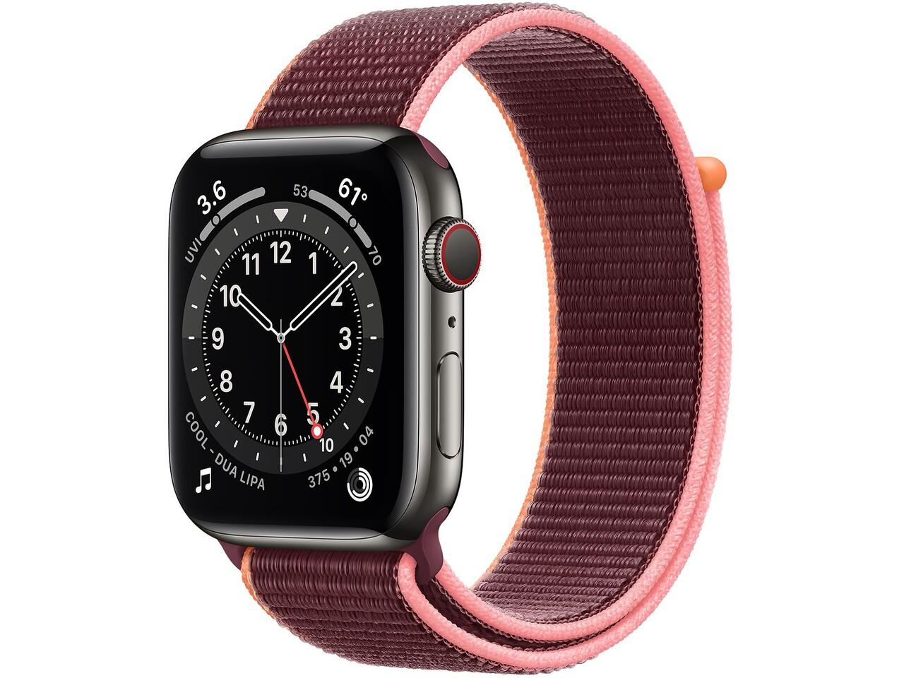 apple watch series 6 cellular 44mm graphite milanese loop plum sport loop