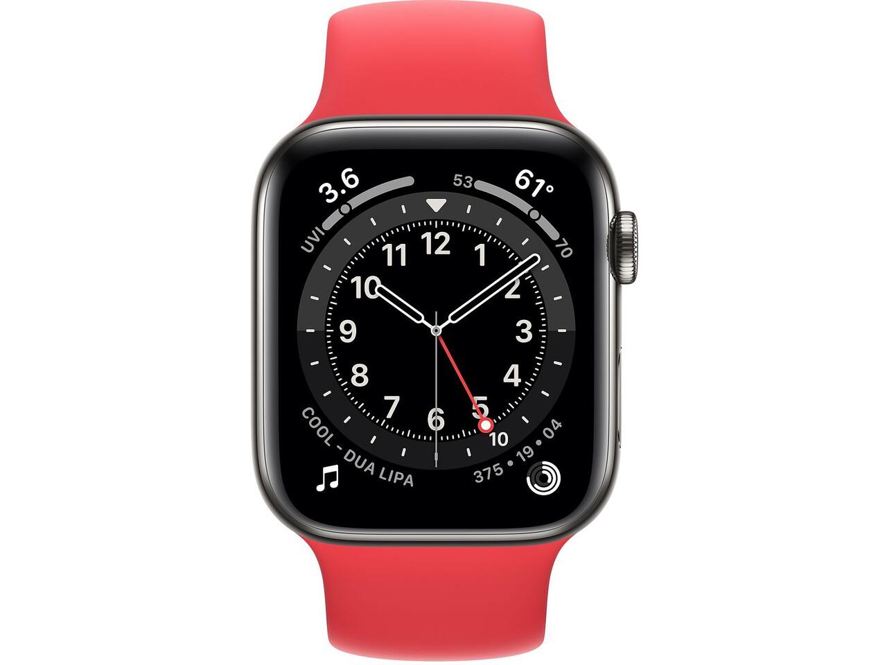 apple watch series 6 cellular 44mm graphite milanese loop red solo loop