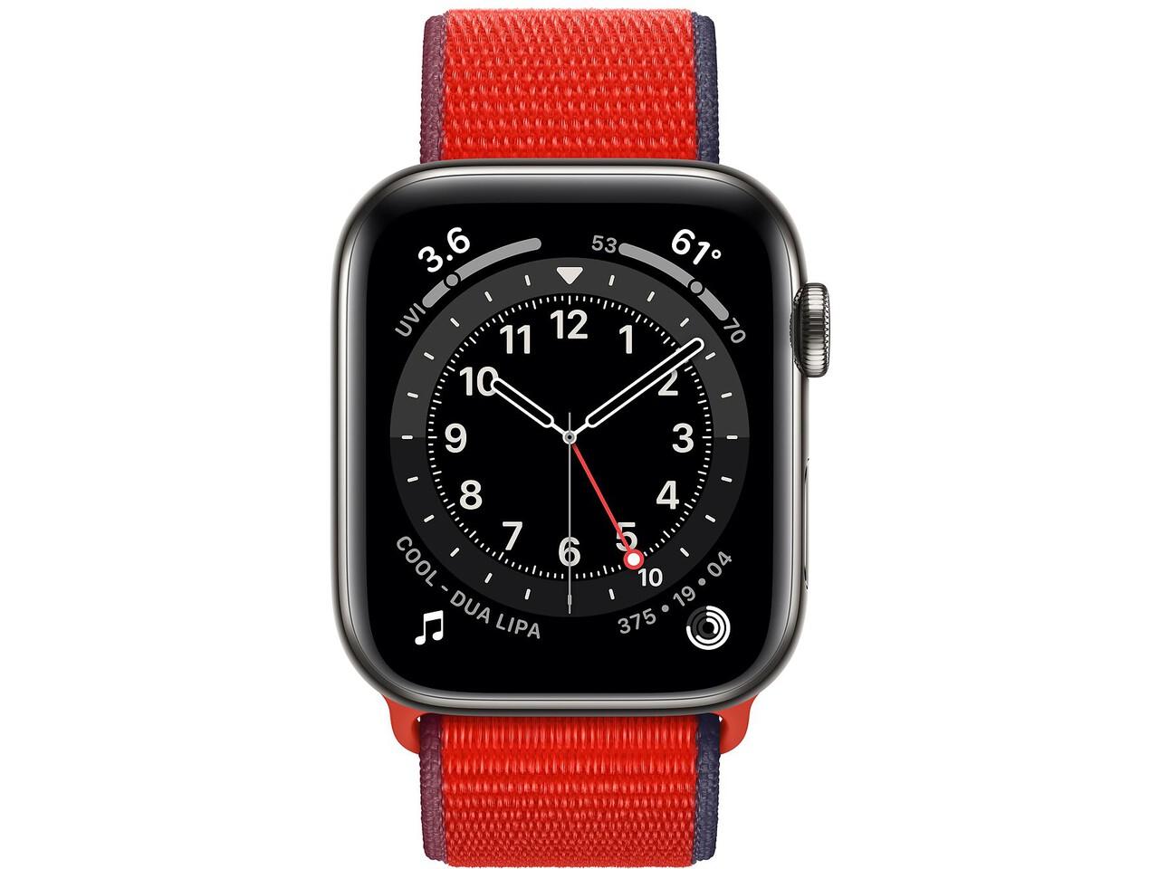 apple watch series 6 cellular 44mm graphite milanese loop red sport loop