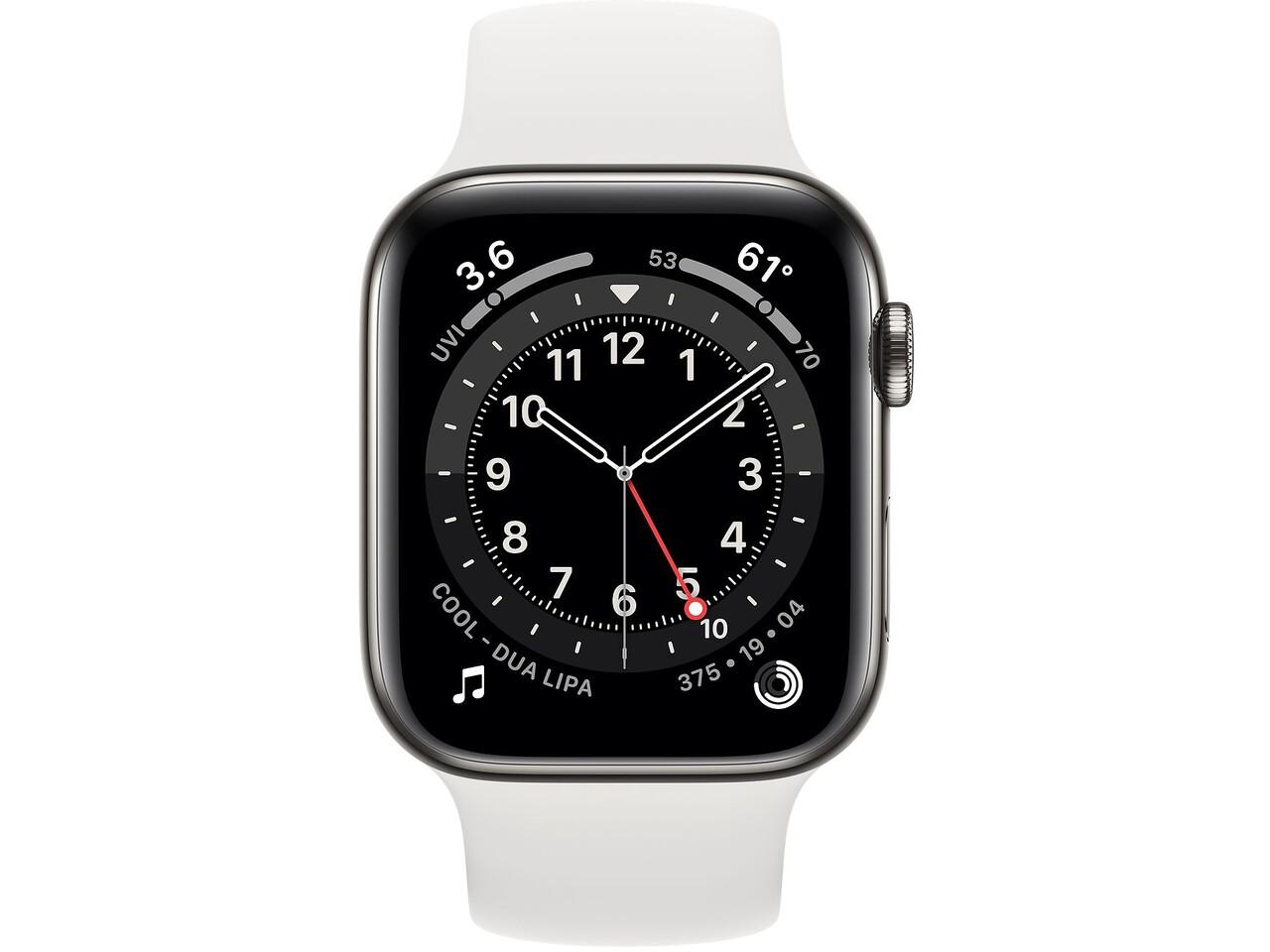 apple watch series 6 cellular 44mm graphite milanese loop white solo loop