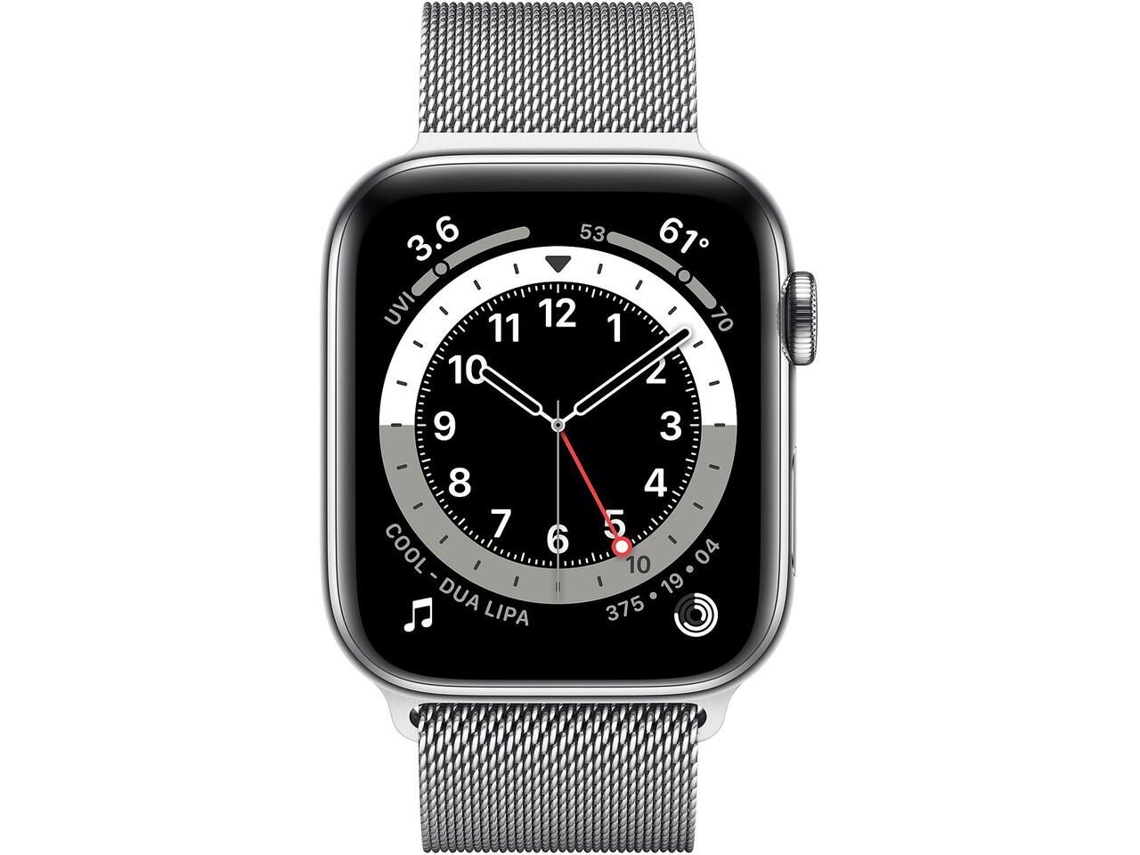 apple watch series 6 cellular 44mm silver stainless steel silver milanese loop